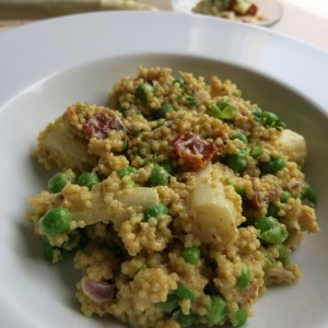 veganes Hirsotto mit Spargel